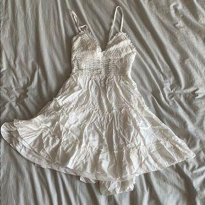 Crochet ruched mini dress